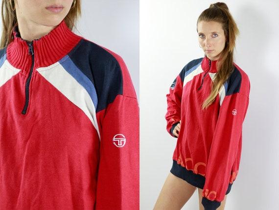 Vintage Sweatshirt Vintage Jumper 90s Sweatshirt 90s Jumper Sergio Tacchini Jumper Quarter Zip Jumper Oversize Sweatshirt Oversize Jumper
