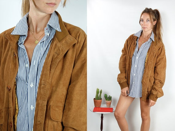Suede Jacket Brown Suede Suede Bomber Jacket Vintage Suede Soft Leather Jacket Oversize Jacket Vintage Clothing 80s Suede Jacket SUJ95