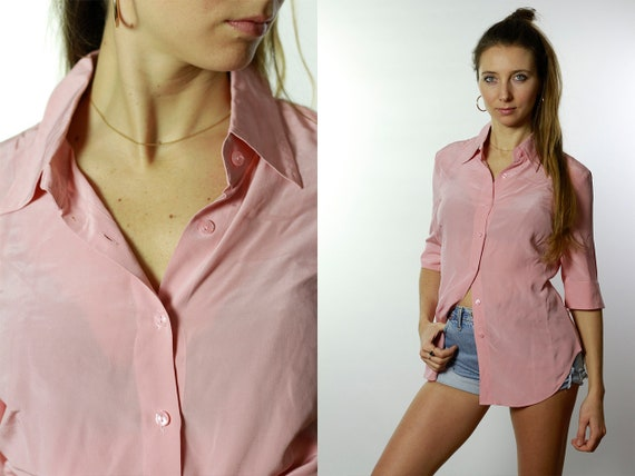 Silk Blouse Pink / Silk Blouse / Silk Shirt Pink / Vintage Silk Blouse / Retro Silk Blouse / Cropped  Blouse / Cropped Shirt HE42
