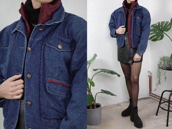 Vintage Denim Jacket Sherpa Vintage Jean Jacket Blue Denim Jacket Padded Jacket Lined Jean Jacket Grunge Second Hand Vintage Clothing SHJ5