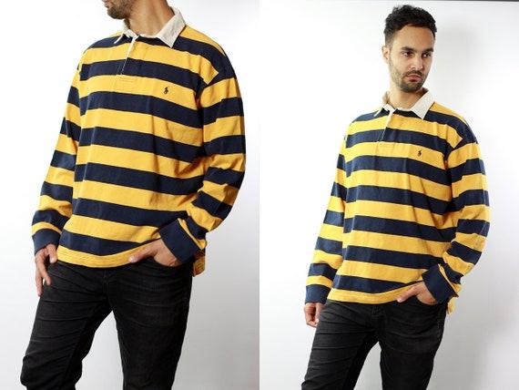 RALPH LAUREN Shirt Ralph Lauren Button Up Yellow Shirt Mens Shirt Striped Vintage Ralph Lauren Vintage Shirt Oxford Shirt Ralph Lauren HE81