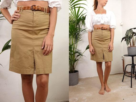 High Waist Skirt High Waisted Skirt Beige Skirt Cotton Skirt Pencil Skirt 80s Skirt Midi Skirt Womens Clothing Vintage Clothing R26