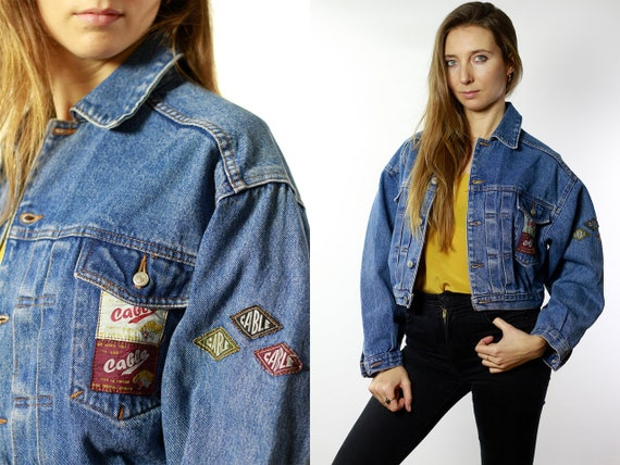 Vintage Denim Jacket Vintage Jean Jacket Blue Denim Jacket Cropped Denim Jacket Cropped Jean Jacket Grunge Denim Jacket Small DJ41
