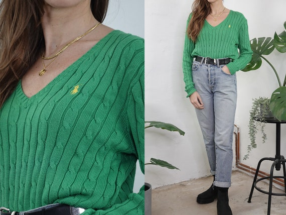 RALPH LAUREN Jumper Ralph Lauren Sweater Knitted Jumper Green Knitted Sweater Knot Pattern Jumper Vintage Clothing Second Hand WP299