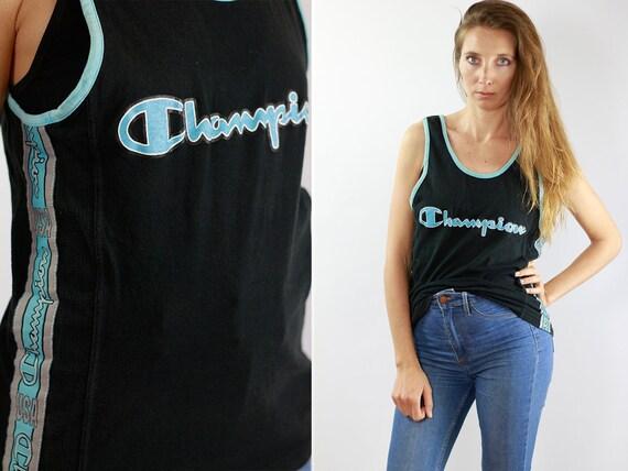 Champion T Shirt Champion T-Shirt Champion Top 90 T Shirt 90s T-Shirt 90s Top Blue Tanktop Champion Tanktop Vintage T Shirt Vintage T-Shirt