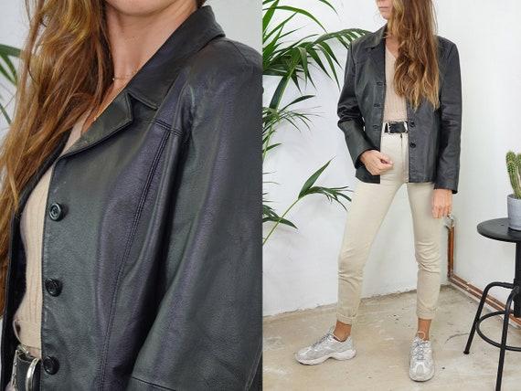 80s Leather Jacket Vintage Black Leather Jacket Belt Retro Leather Jacket Womens Leather Blazer Vintage Clothing Second Hand BLJ12