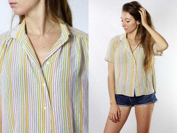 Summer blouse Silk Shirt Vintage 80's Shirt Womens Shirt Vintage Shirts Womens Shirt Vintage Clothing Loose Shirt Striped Blouse HE153