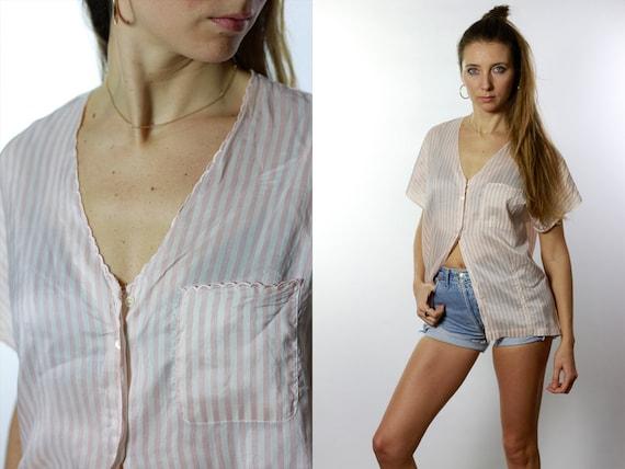 Vintage Silk Shirt / Striped Silk Shirt / Silk Shirt Pink / Striped Shirt Pink / Vintage Shirt Pink / Oversize Shirt Pink Cropped Shirt HE31