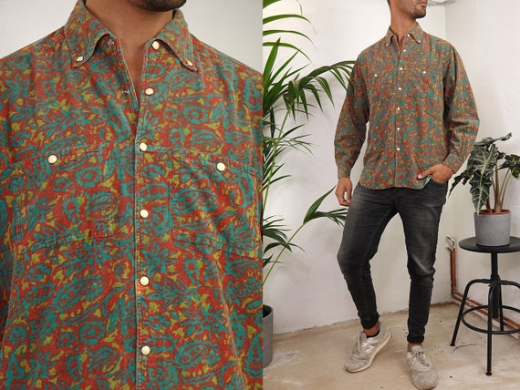 Button Down Shirt Corduroy Shirt Paisley Shirt  Shirt 90s Corduroy Shirt Vintage Shirt Oxford Shirt Cotton Shirt Vintage Clothing HE194