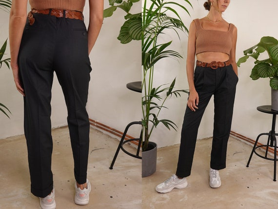 Pleated Trousers High Waist High Waisted Trousers Flared High Waist Pants Grey Pants Trousers Women Pants Vintage Clothing Second Hand HS59