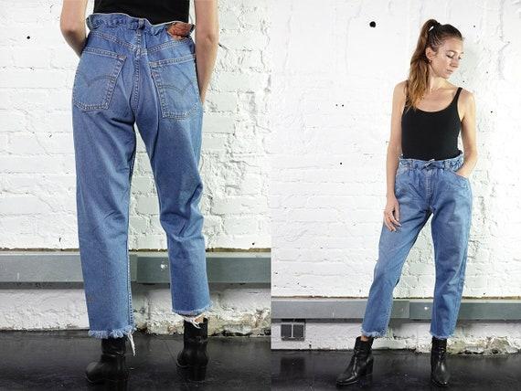 Levis Mom Jeans Levis Light Blue Levis Jeans Reworked  Levis Vintage Jeans  Levis 501 Jeans Mom Jeans High Waist Jeans Paperbag Pants RJ9