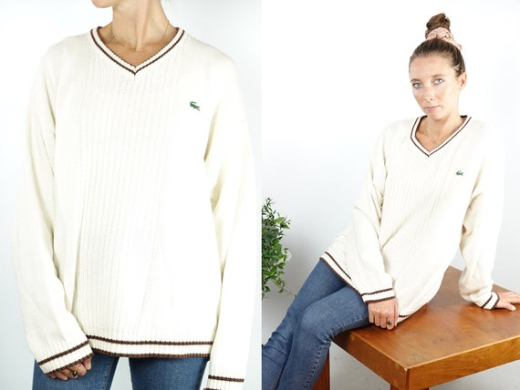 LACOSTE Jumper Lacoste Sweater White Vintage Wool Jumper Knitted Jumper Lacoste Sweatshirt Sweater Lacoste Vintage Vintage Clothing  WP157