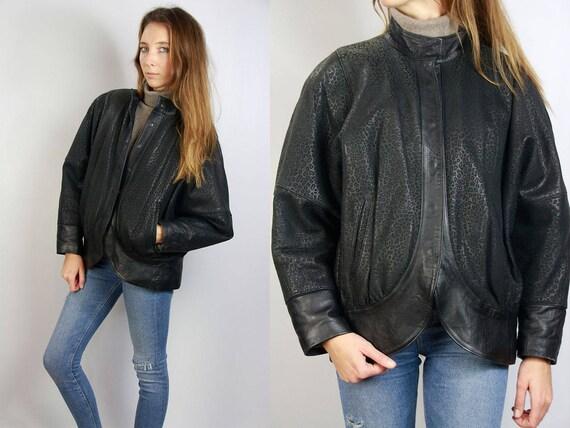 Vintage Leather Jacket / Leopard Print Jacket / Leopard Leather Jacket / Vintage Leather / 70s Leather Jacket / 80s Leather Jacket / Black