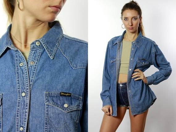 WRANGLER Jean Shirt Wrangler Denim Shirt Wrangler Shirt Blue Denim Shirt 90s Jean Shirt Wrangler Denim Shirt Vintage Wrangler Jean ShirtHE69
