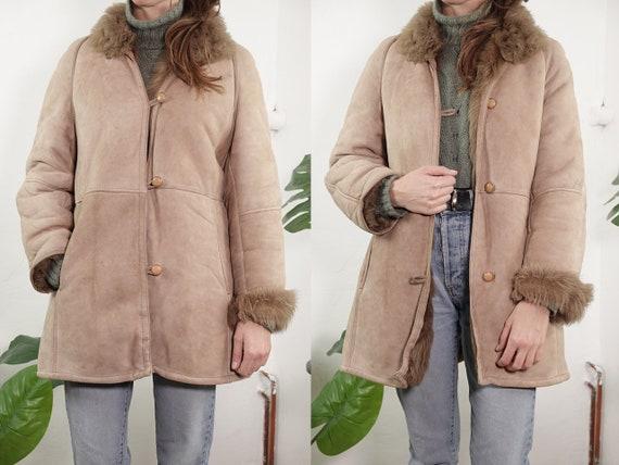 Small Shearling Coat Vintage Sherpa Coat Small Sheepskin Coat Beige Shearling Coat Winter Coat Warm Vintage Clothing Second Hand SH90