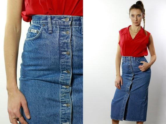 Denim SKIRT High Waist  / Vintage Denim Skirt / Denim Skirt  Vintage / 80s Skirt / Pencil Skirt / Denim Mini Skirt Jean Skirt High Waist R11