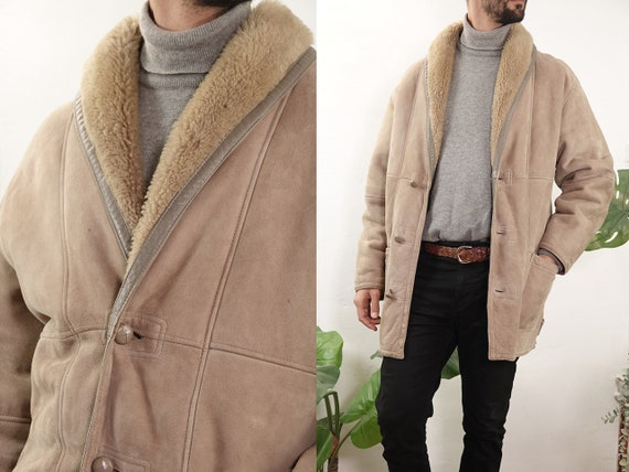 Shearling Jacket Sheepskin Beige Sherpa Jacket Shearling Coat Sheepskin Winter Jacket  Second Hand Mens Fashion Vintage Clothing SH129