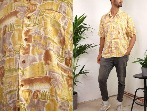 90s Shirt 80s Retro Shirt Geometric Shirt Tribal Tshirt Vintage Tshirt Oversized Shirt Men Shirt Vintage Shirts Short Sleeves Shirt HE206