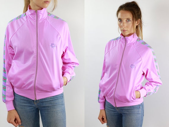 Tape Jacket Pink Taped Bomber Jacket Arena Jacket Pink Tape Jacket Taped Windbreaker 90s Jacket Arena Taped Shell Jacket Arena Vintage 90s