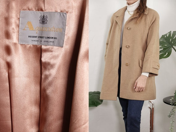 Aquascutum Coat Wool Vintage Camel Hair Coat Womens Coat Long Coat 70s Coat Wool Coat Vintage Clothing Beige  Wool Coat Second Hand  CO203
