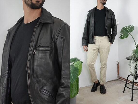 80s Leather Jacket Vintage Black Leather Jacket 80s Mens Leather Coat Long Biker Jacket Fashion Vintage Clothing Second Hand BLJ27