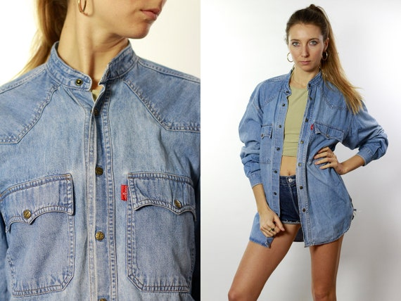 Denim Shirt Button Down Shirt Jean Shirt Oversize Denim Shirt Oversize Jean Shirt Blue Denim Shirt Blue Jean Shirt Vintage Clothing HE68