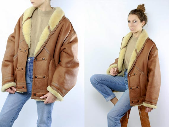 Shearling Jacket / Shearling Coat / Sheepskin Jacket / Sheepskin Coat / Vintage Shearling Brown Shearling Coat Brown Shearling Jacket WLM18
