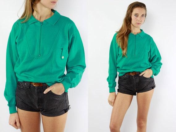 Vintage Sweatshirt 90s Sweatshirt  Turquoise Sweatshirt  Turquoise Jumper Vintage Jumper 3/4 Zip Sweatshirt 90s Jumper Turquoise Sweater