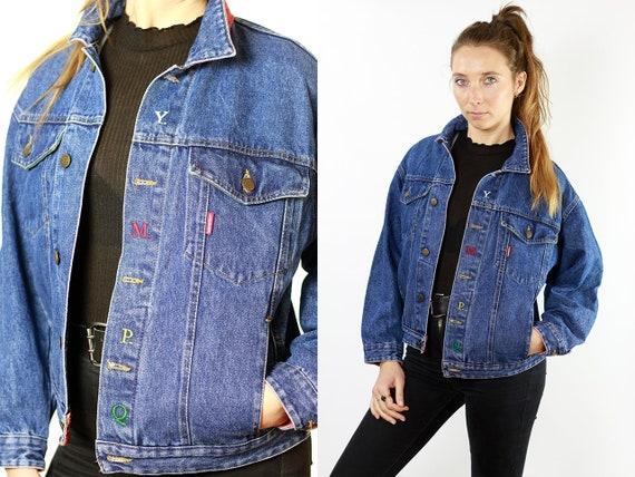 Denim Jacket Vintage Clothing Jean Jacket 80s Denim Jacket 80s Jean Jacket Blue Jacket Oversize Denim Jacket Womens Jacket Large DJ106
