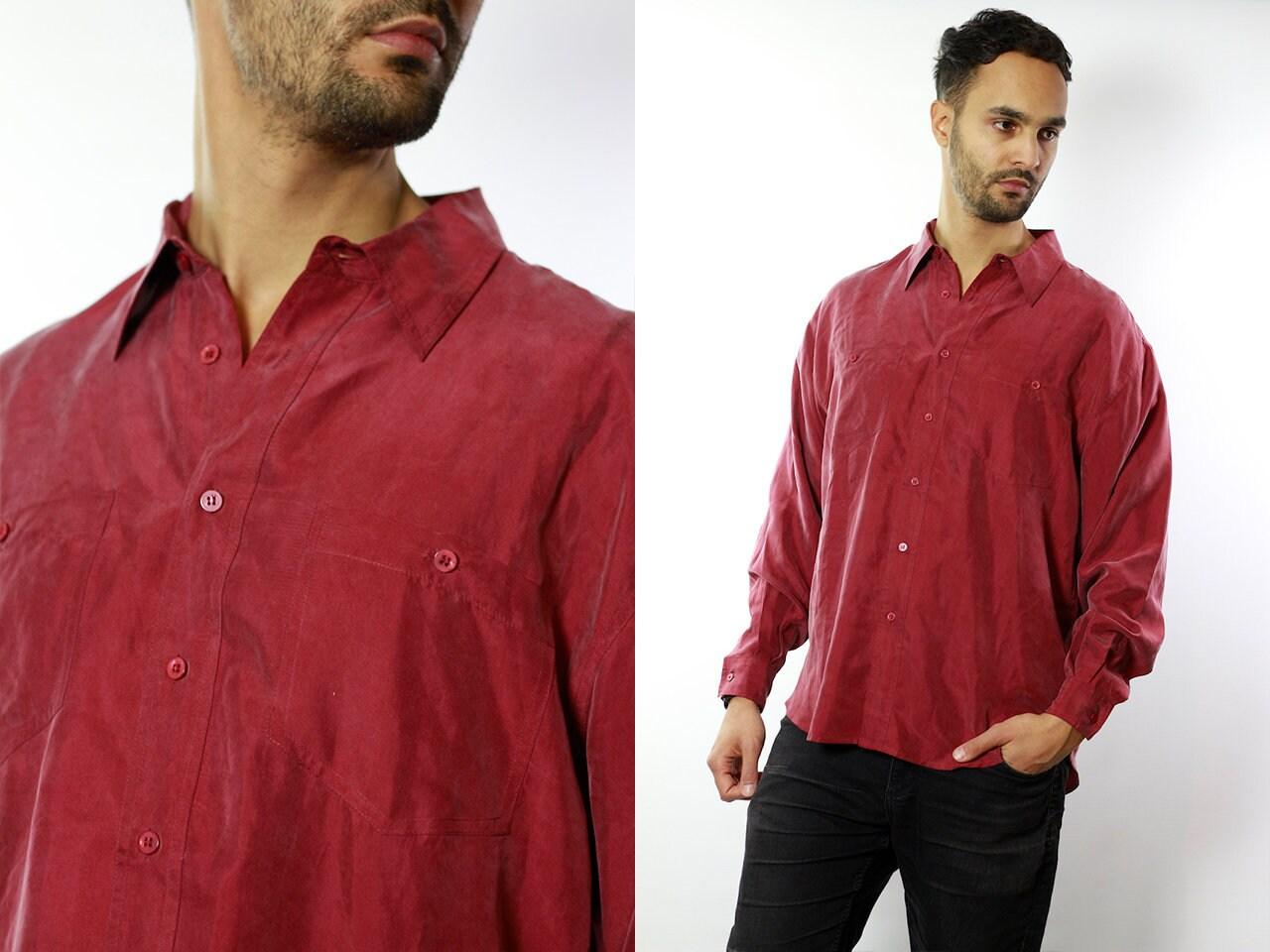 a5628be4778 Silk Shirt Men   Silk Button Up   Silk Button Down   Mens Silk Shirt   90s  ...