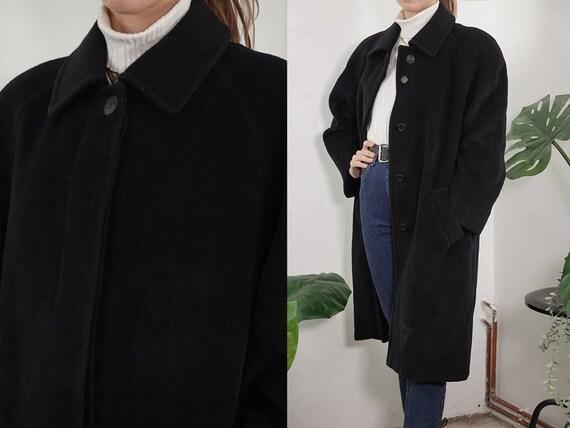 Vintage Coat Vintage Wool Coat Black Vintage Coat 80s Wool Coat Winter Coat Warm Vintage Clothing Second Hand Womens Coat Small CO200