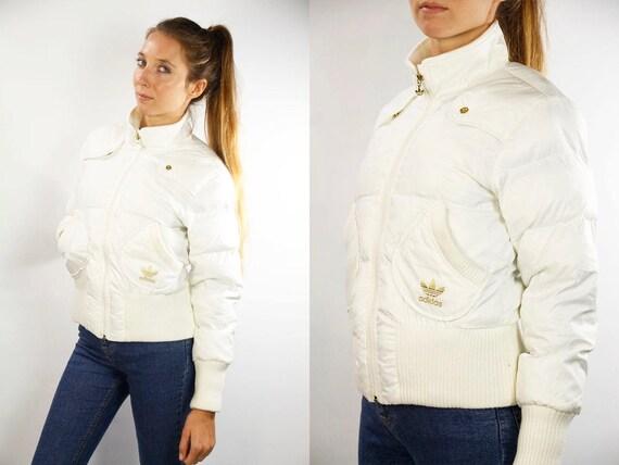 Adidas Bomber Jacket / Adidas Puffer Jacket / Adidas Jacket White / White Puffer Jacket / White Bomber Jacket / 90s Adidas / 90s Puffer