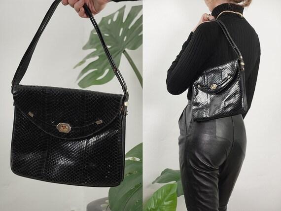 Leather Bag Snake Leather Bag Shoulder Bag Vintage Bag Grab Bag Leather Shoulder Bag Leather Handbag Leather Croc Bag Vintage Clothing B40