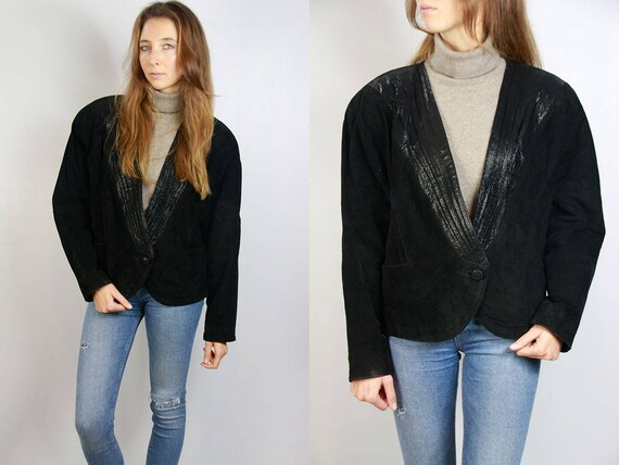 Black Suede Blazer / Blazer Jacket / Black Suede Jacket / Suede Jacket Black / Vintage Suede Jacket / Leather Jacket Black Suede Blazer LJ8