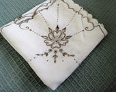Vintage coffee and cream cutwork embroidered square linen tablecoloth