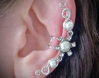 Silver Flower Ear Cuff  Silver plated Ear Wrap