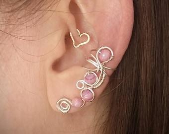 Silver Moon Bead Ear Cuff  Pink Silver plated Ear Wrap (SPI60)