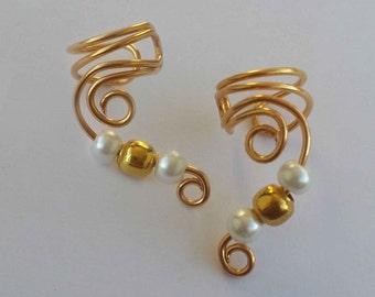 Pair Gold Drop Ear Cuff Gold Ear Wrap