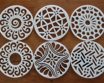 """6 Kaleidoscope discs for Pull through soap technique fits 3"""" or 2.75"""" Molds Cold Process Artisan soap tools Side Mount"""