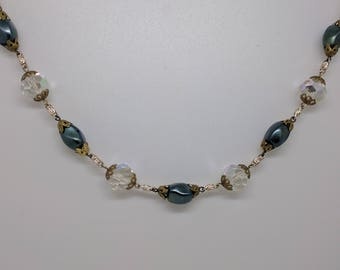 Vintage Beaded Necklace Chain, Crystal Necklace, Blue Bead Necklace, Wedding Necklace, Bead Necklace, Blue Beads