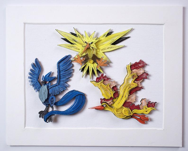 a60ebd82d Pokemon Paper Quilling Art Articuno Zapdos Moltres 100% | Etsy