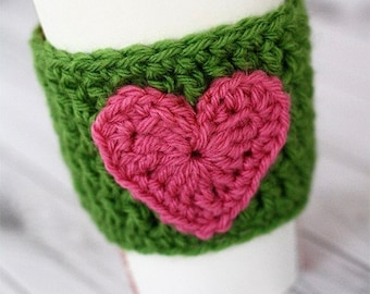 Heart Applique Drink Sleeve - Many Colors Available