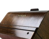 Restored SINGER Sewing Machine Bentwood Carrying Wooden Case Knee Control 201 15 201-1 15-91 66
