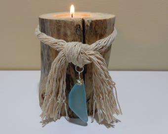 Driftwood Beach decor - Driftwood candle holders - Natural wood decor - Wood Pillar candles - Driftwood art - Beach candles - Lake Erie