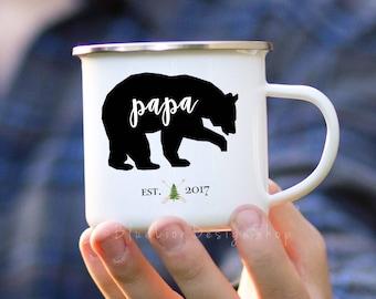Papa Bear Camp Mug, Personalized Papa Bear Enamel Mug, Papa Bear Adventure Gift, New Dad Camp Mug, Enamelware Dad Mug, Outdoor Gift for Dad