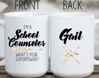 School Counselor Superpower Mug, School Counselor Mug, School Counselor Gift, Gift for School Counselor, School Counselor Cup, Counselor Mug