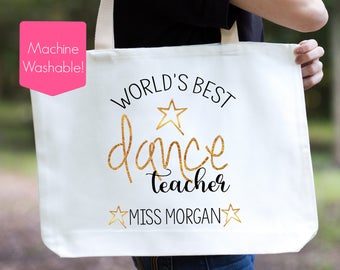 World's Best Dance Teacher Tote Bag, Dance Teacher Bag, Personalized Dance Teacher Gift, Dance Class Bag, Best Dance Teacher, Dance Bag