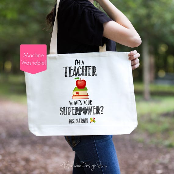 166221880d Teacher Tote Bag Teacher Superpower Tote Bag Personalized