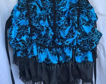Bustle - Teal Blue & Black Taffeta Brocade/Damask Tie-On Bustle - Versatile Costume Piece for Steampunk-Victorian-Burlesque-Cosplay-Western