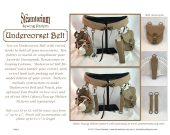 Under Corset Belt Sewing Pattern -festival utility corset belt to wear under corset w/ swivel hooks -Steampunk Victorian Renaissance Cosplay